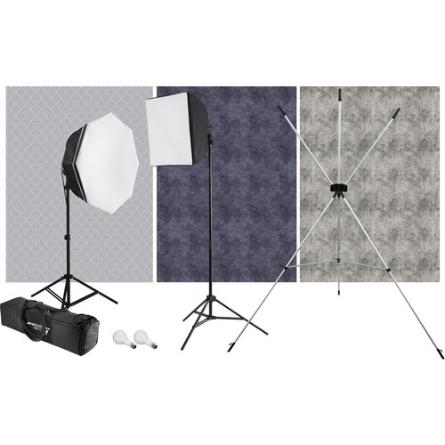 Westcott uLite 2-Light Kit with X-Drop Stand and 3 Backdrops