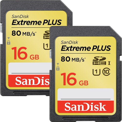 SanDisk 16GB Extreme UHS-I SDHC Memory Card (U3, 2-Pack)