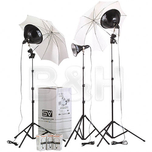 Smith-Victor KT800U 3-Light 1250W Thrifty Advanced Kit with Umbrellas & Dimmers (120V)