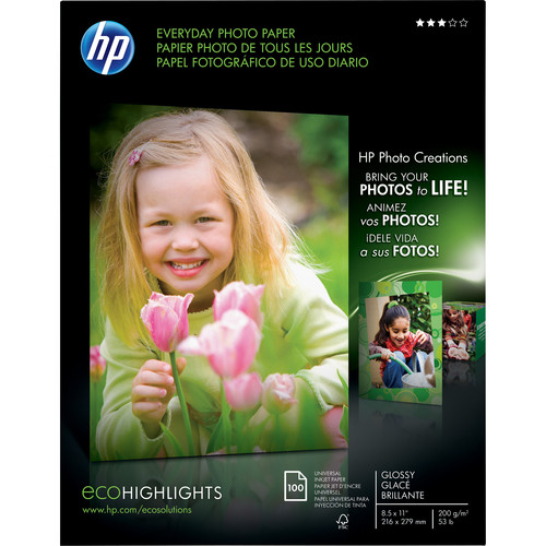 HP Everyday Glossy Photo Paper - 8.5x11