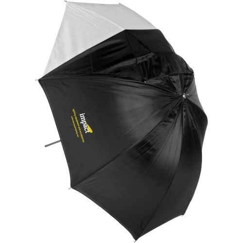 Impact Convertible Umbrella - White Satin with Removable Black Backing - 45