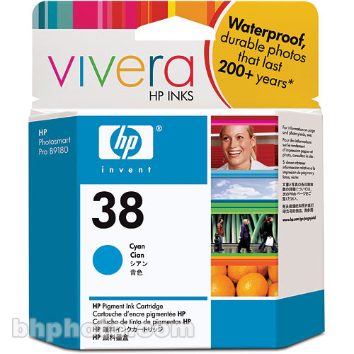 HP Cyan Ink Cartridge for Photosmart Pro B8850 & B9180 Printers (HP 38)