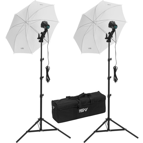 Smith-Victor K22U-A 2-Light 1200W Portable Attache Kit with Umbrellas (120-240VAC)