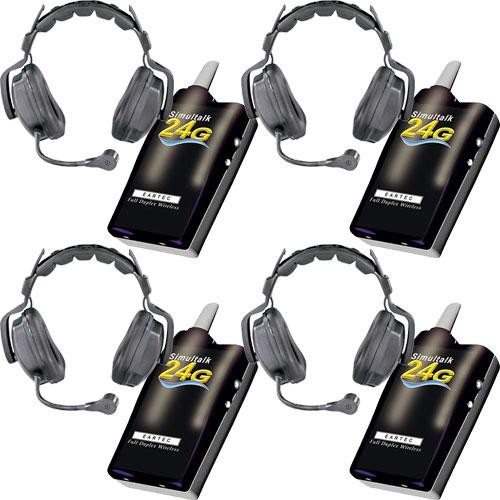 Eartec 4 Simultalk 24G Beltpacks with Ultra Double Headsets