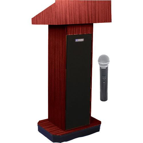 AmpliVox Sound Systems SW505 Wireless Executive Sound Column Lectern w/ Handheld Mic (Mahogany)