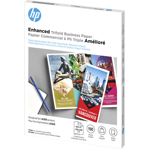 HP Q6612A Laser Glossy Tri-Fold Brochure Paper (Letter, 8.5 x 11