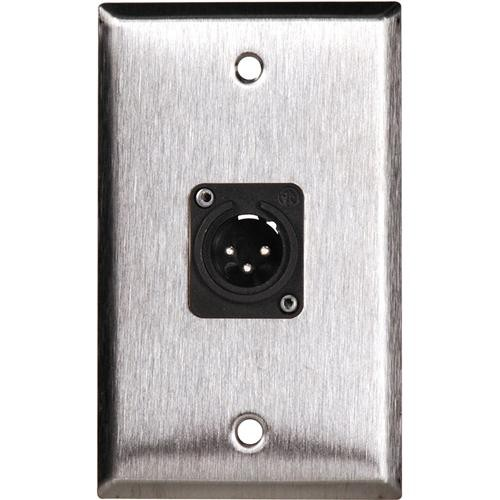 TecNec WPL-1113/BA 1-Gang Black Aluminum Wall Plate with 1 Neutrik NC3FDL1 Connector