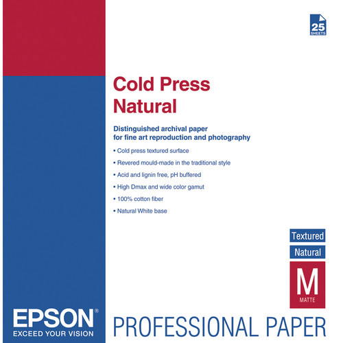 Epson Cold Press Natural Textured Matte Paper - 13 x 19
