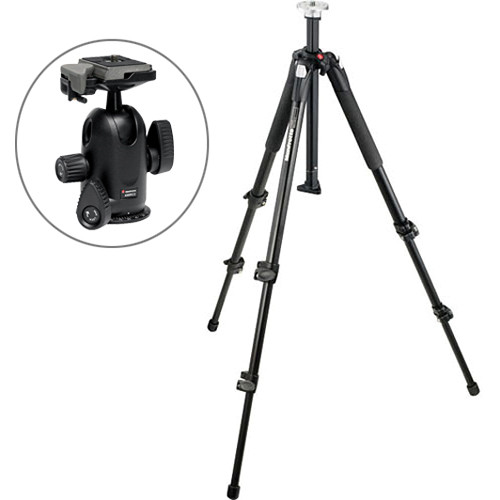 Manfrotto 055XB Tripod Legs Kit w/ 498RC2 Midi Ball Head & 200PL-14 QR Plate