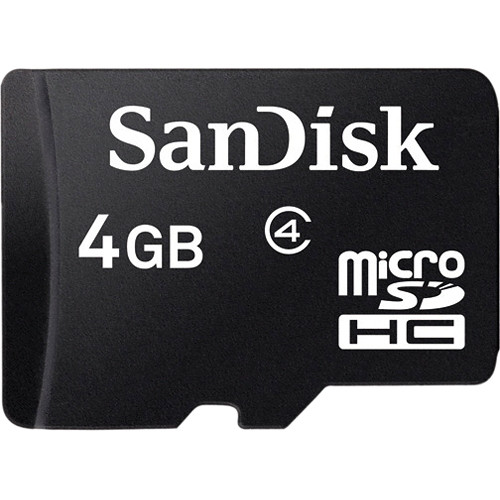 SanDisk 4GB microSDHC Memory Card Class 4 With SD Adapter
