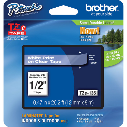 Brother TZe135 Laminated Tape for P-Touch Labelers (White on Clear, 0.47