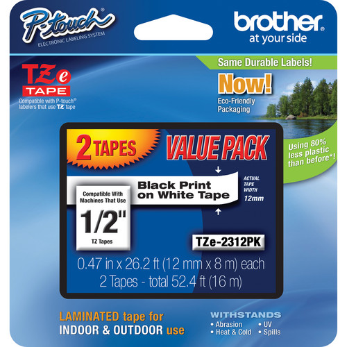 Brother TZe231 Laminated Tape for P-Touch Labelers 2-Pack (Black on White, 0.47