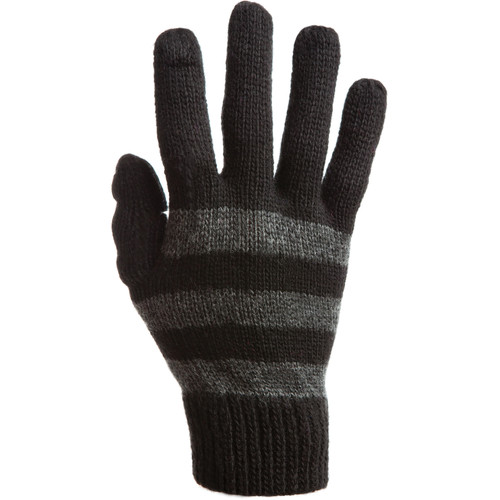Freehands Women's Stripe Wool Knit Gloves (Charcoal)