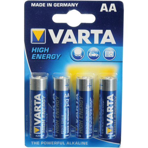 Varta High-Energy 1.5 V AA E91 Alkaline Battery - 4 Pk