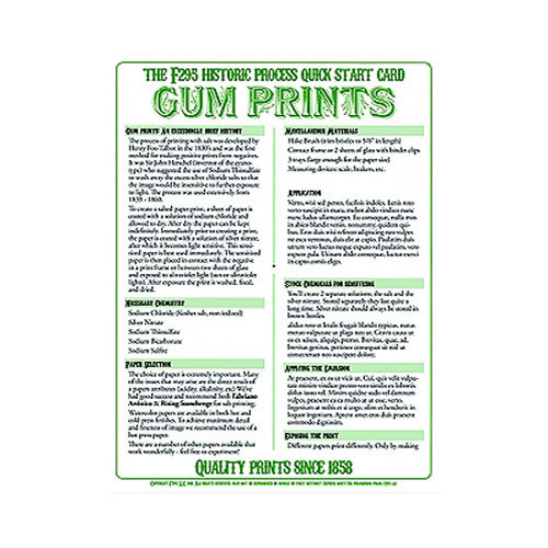 F295 Historic Process Laminated Reference Card for Gum Bichromate Prints