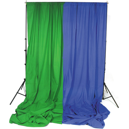 Impact Background System Kit with 10x12' Chroma Green and Chroma Blue Muslins