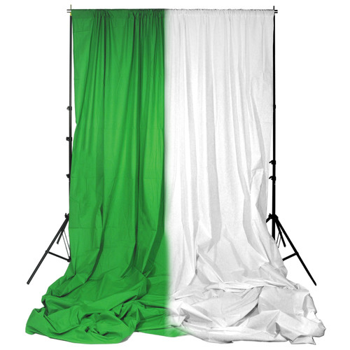 Impact Background System Kit with 10x24' White and Chroma Green Muslins