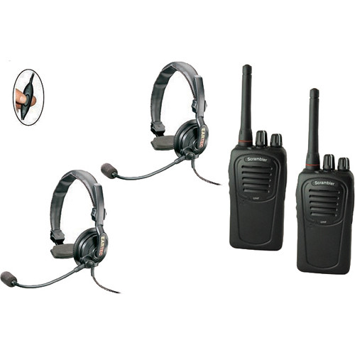 Eartec 2-User SC-1000 Two-Way Radio with Slimline Single Inline PTT Headsets