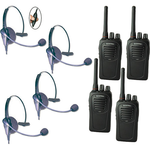 Eartec 4-User SC-1000 Two-Way Radio System with Eclipse Inline PTT Headsets