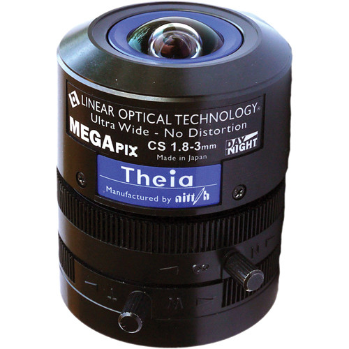 Theia Technologies CS-Mount 1.8-3mm f/1.8 5 Mp Ultra-Wide No-Distortion DC Auto Iris Lens
