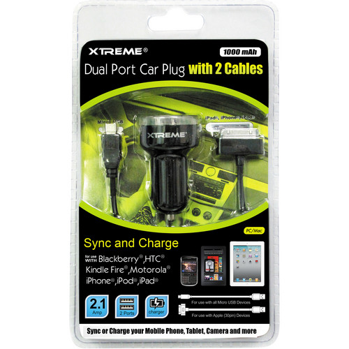 Xtreme Cables Dual Port Car Plug With 2 Cables