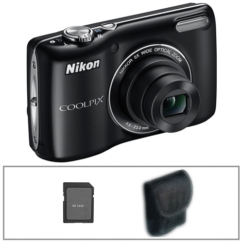 Nikon Coolpix L26 Digital Camera (Black) with Deluxe Accessory Kit