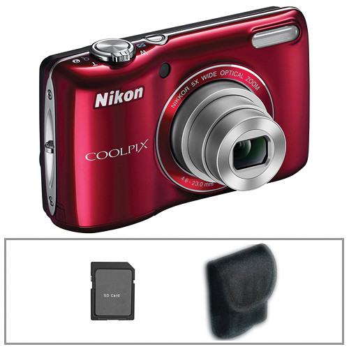 Nikon Coolpix L26 Digital Camera (Red) with Basic Accessory Kit