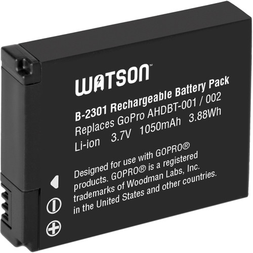 Watson Lithium-Ion Battery Pack for GoPro Cameras (3.7V, 1050mAh)