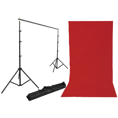 Impact Background Kit with 10 x 12' Solid Ruby Red Muslin Backdrop