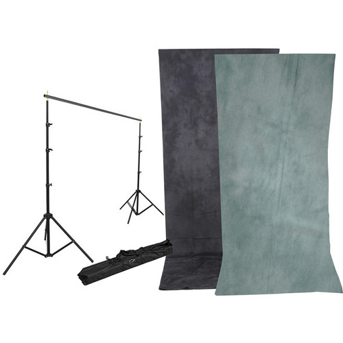 Impact Background Kit with 10 x 24' Dawn/DeepSea Blue Reversible Muslin Backdrop