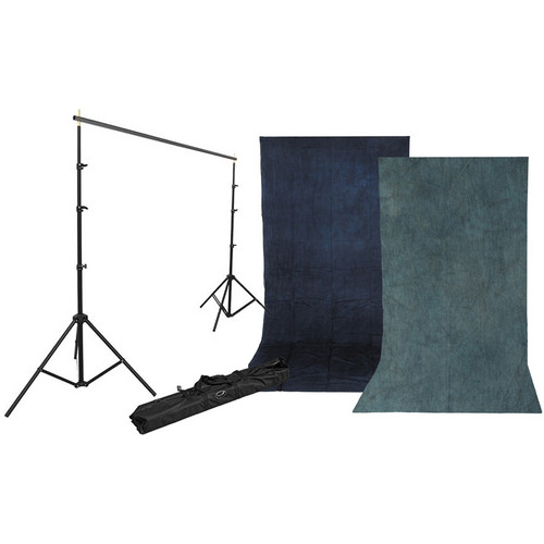 Impact Background Kit with 10 x 12' Sky Blue/Aqua Reversible Muslin Backdrop