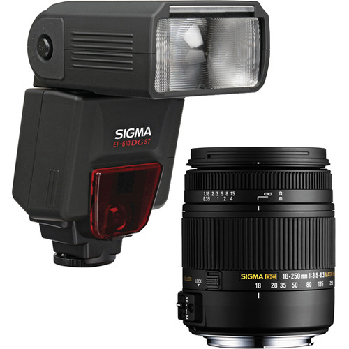Sigma 18-250mm f/3.5-6.3 DC Macro OS HSM Lens and EF610 DG ST Flash Kit for Nikon