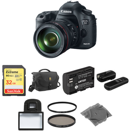 Canon EOS 5D Mark III DSLR Camera Basic Accessory Kit with 24-105mm f/4L IS USM AF Lens