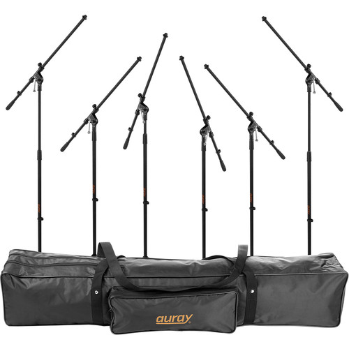 Auray 6 Pack of Auray MS-5230F Tripod Mic Stands with Fixed Booms and Stand Bag Kit