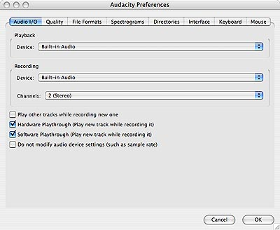 Audacity Preferences