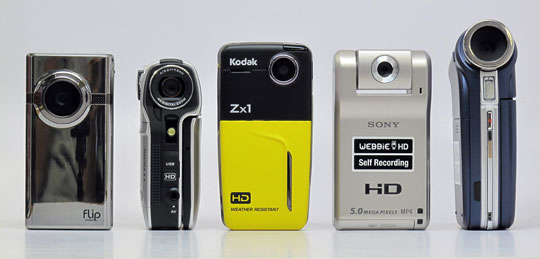 Flip Video minoHD, DXG-579V HD, Kodak Zx1, Sony Webbie HD MHS-PM1, and Aiptek A-HD