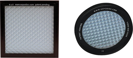 The ExpoDisc white-balance filter disks come in several sizes